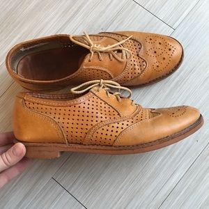 Natural Leather Oxford Loafers Size 8